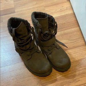 Dark brown combat boots